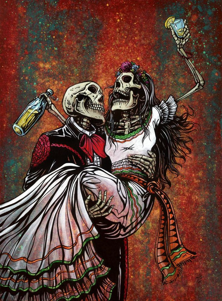 The skeleton mariachi and his tipsy lady love share a laugh and a bottle on a special night. Painting ProcessThe 20 x 34 aquaboard...