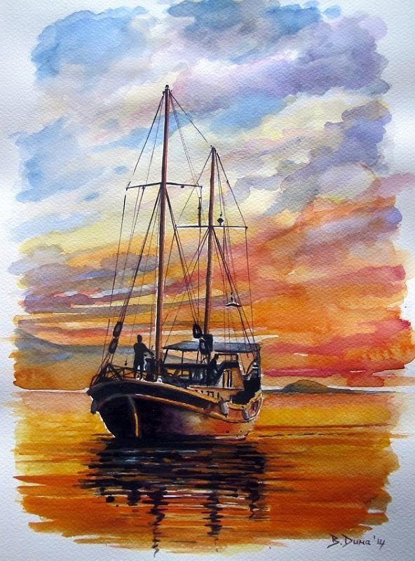 Sunset, painted by Berrin Duma