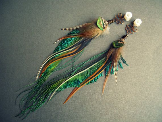 Feather Plugs 2g 0g 00g 1/2 inch 9/16 - Dangle Plugs or Tunnels with Tribal Wire Wrapped Feathers in COPPER OXIDATION: Peacock Green Brown on Etsy, $44.32 CAD