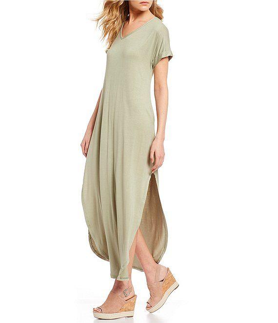 Stilletto's Oversized T-Shirt V-Neck Maxi Dress   Dillard's   Maxi ...