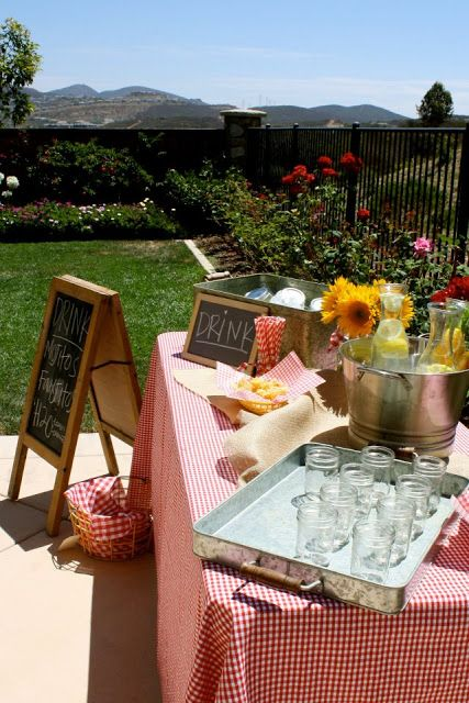 Backyard Baby-Q.  Galvanized trays and chalkboards!  For an outdoor baby shower!
