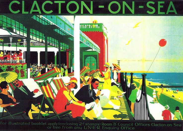 """""""Clacton-on-Sea"""", London & North Eastern Railway holiday poster. Greeting card from a poster in the National Railway Museum collection."""
