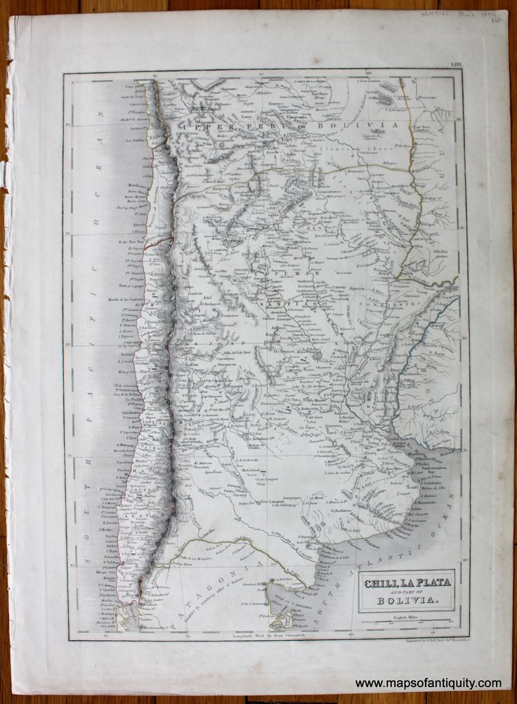 Antique (1844) Map of Chile, La Plata, and part of Bolivia. Available in our shop and on our website.