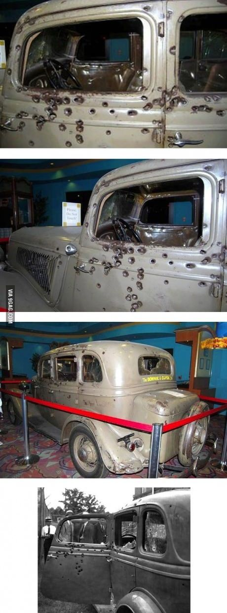 Bonnie and Clyde's car that they died in. It is now located inside of a casino in Nevada.