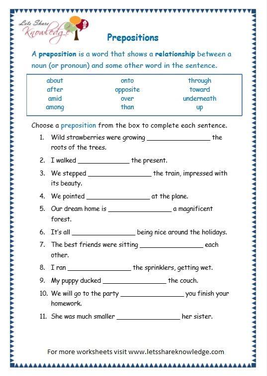 Grade 3 Grammar Topic 17 Prepositions Worksheets Lets