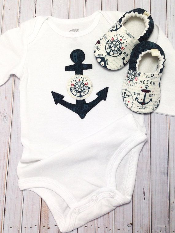 Anchors Baby Shoes and Bodysuit Soft Sole by CharleeOhCreations