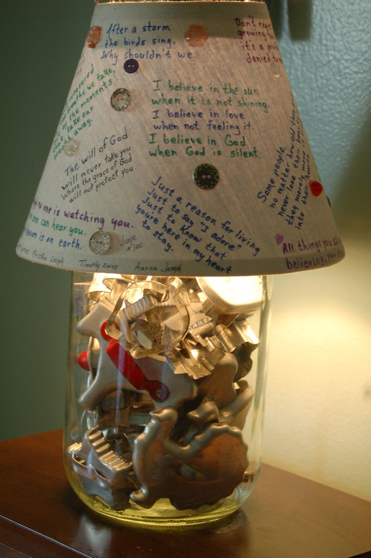 jar filled with my mom's old cookie cutters / favorite words on the lampshade. What a cute idea!!!!!!!!!!!!