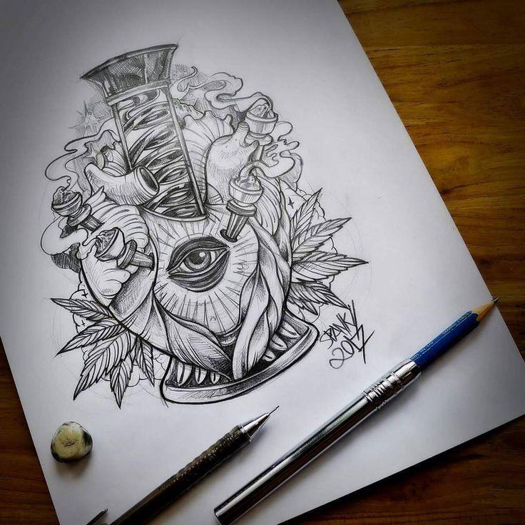 """ High heart "" Drawing sketch.  #Designed by #spankystudio #artist #custom #illustrations #bangkok    Work contact :spankystudio@gmail.com    #designer #art #thc #stoners #weed #bong #marijuana #ganja #hightimes #420 #weeds #artshow #cannabis #drawing #drawing #tattoolife #tattoo #illustration #urbanart #drugs #tshirt #instaart #lowbrowart #loweredlifestyle #artogtheday"