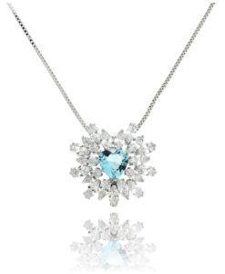 colar coração agua marinha com zirconias cristais e banho de rodio semi joias sofisticadas