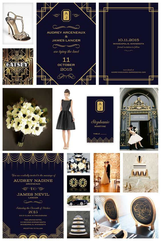 Black & Gold Wedding Inspiration - Great Gatsby Wedding -- Vintage, Deco, 1920's Wedding -- Black & Gold Wedding Invitation, Save the Date Card & Place Card designed by Lauren DiColli Hooke for KleinfeldPaper.com: