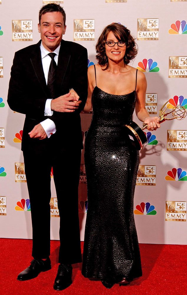 Jimmy Fallon & Tina Fey from Emmys Cast Flashback  Former Saturday Night Live co-stars Jimmy Fallon and Tina Fey posed backstage together.