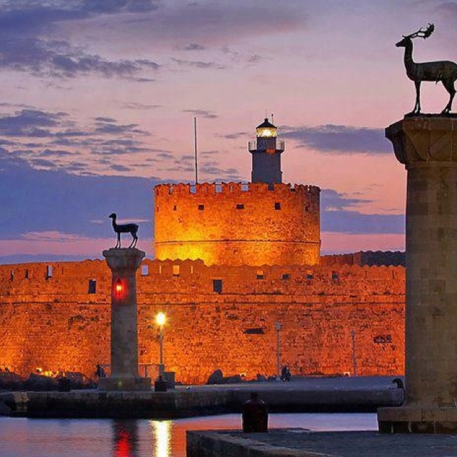 Entrance to the port,Rhodes, Greece