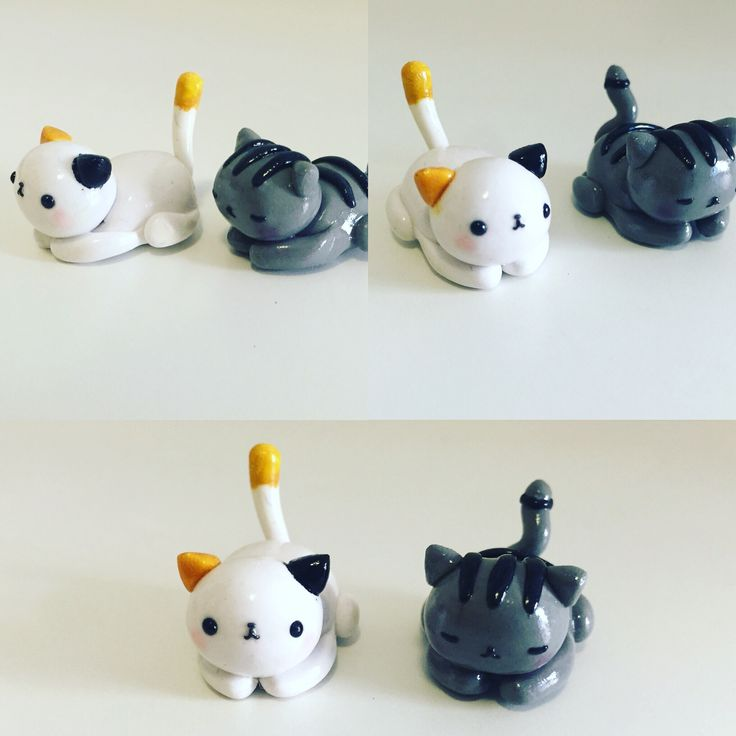 We are a little obsessed with Neko Atsume right now! Here's a polymer clay version of Dottie and Misty.