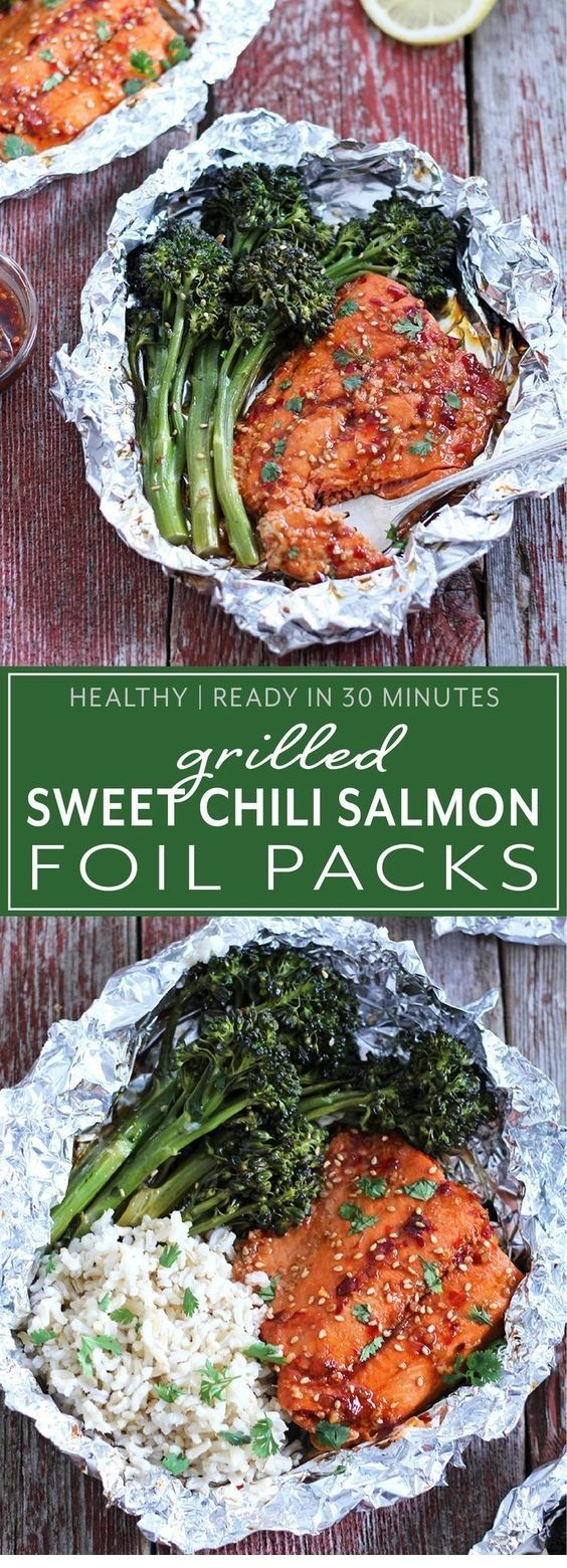 Grilled aluminum bunches with salmon and sweet chili   – Foil Pack Recipes