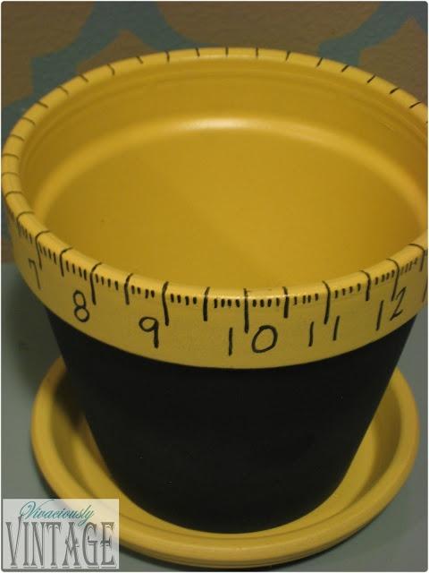 Vivaciously Vintage: Teacher Gift Idea: Chalkboard and Ruler Flower Pot _ #DIY #Gifts