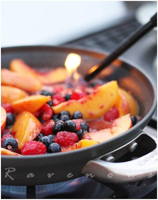 Peaches & Berries Flambe - submitter served over vanilla ice cream; I think it's a stong contender to serve over German pancakes for Christmas brunch