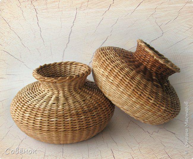 Поделка изделие Плетение 3 вазы Бумага газетная Трубочки бумажные фото 6