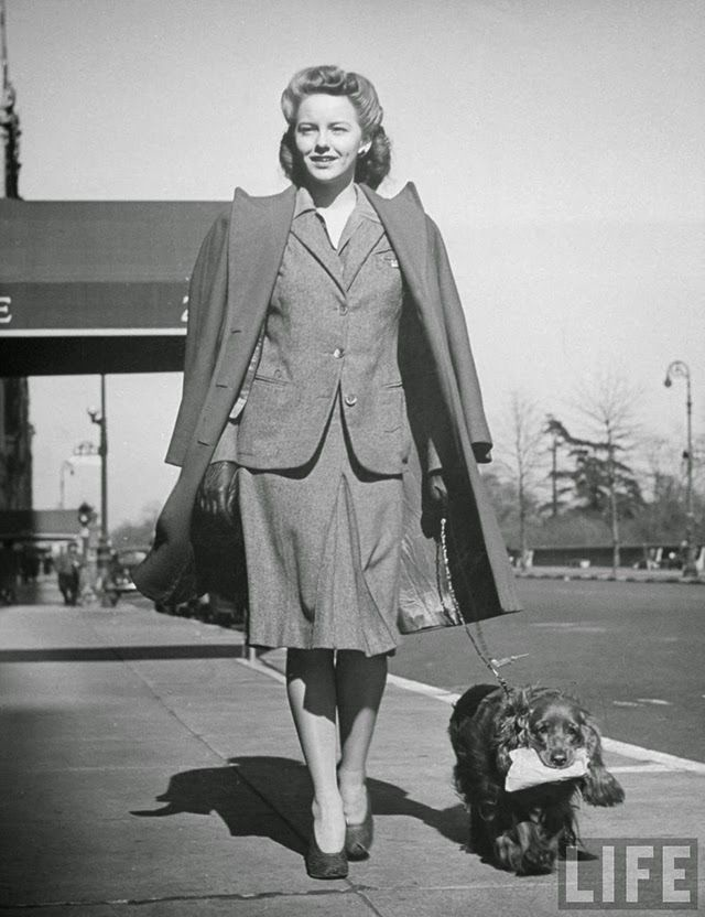Interesting Photos of Famous People with Their Dogs on the Street of NYC in 1944