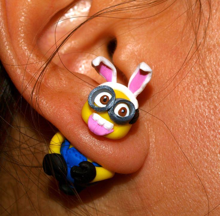 Minion Rabbit earring stud!