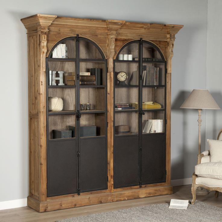 Bibliothèque en bois avec portes vitrines en métal DYNASTIE(marque : Mathilde et Pauline)