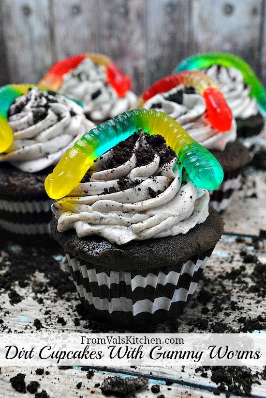 Dirt Cupcakes With Gummy Worms Recipe - From Val's Kitchen
