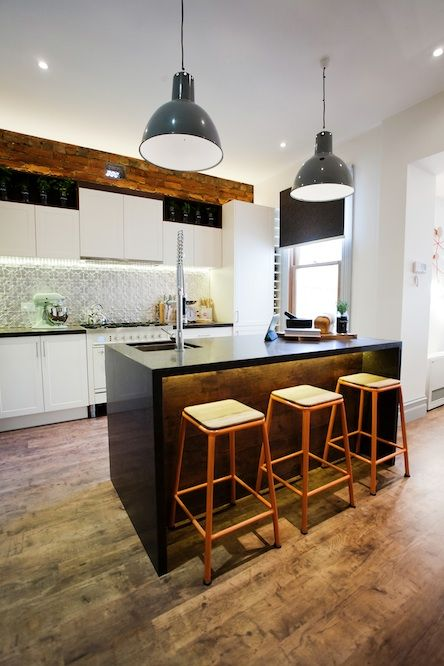My dream kitchen Industrial lighting and pressed metal splash back