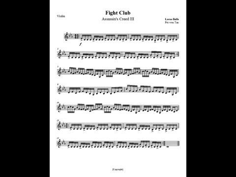Assassins Creed 3 OST Fight Club With Violin Sheet Music