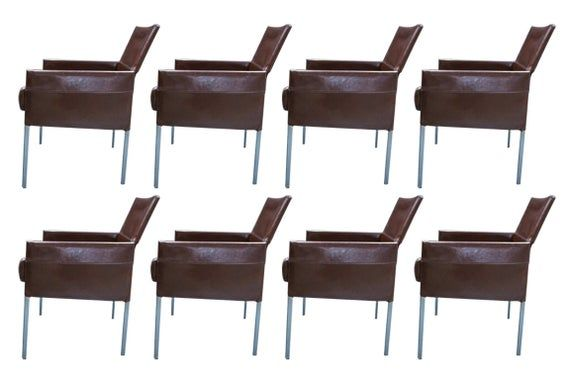 Eight Vintage Brown Leather And Steel Texas Dining Chairs By