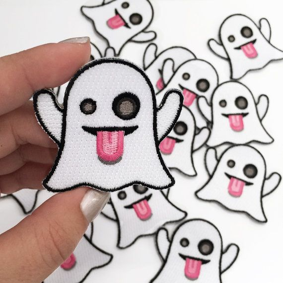 SALE!  Ghost Emoji Embroidered Patch / Iron-On Applique