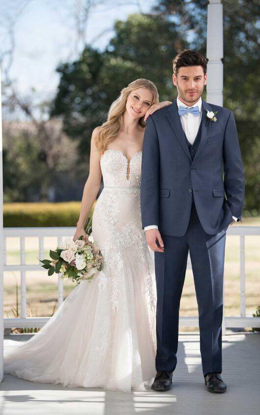 Glamorous Wedding Dress with Detachable Sleeves