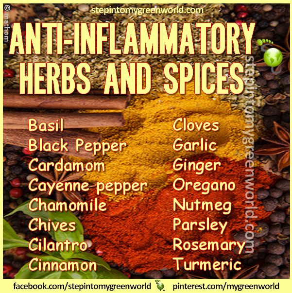 HERBS & SPICES that FIGHT INFLAMMATION Pump up the flavor of your favorite foods with anti-inflammatory spices such as chili peppers, basil, cinnamon and turmeric. Turmeric in particular has tremendous natural anti-inflammatory properties due to the active ingredient curcumin. http://www.doctoroz.com/videos/dr-andrew-weil-anti-inflammatory-diet?page=2#copy