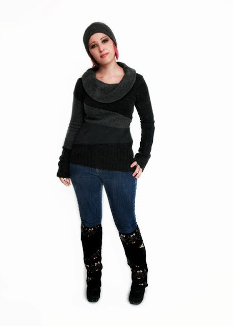 Paper People Clothing: Gwen's Got Style! Hat - Tuque - Upcycled - Reclaimed Vintage - Eco Fashion - Winter Accessories - Cashmere - Angora - Merino - Sweater - Leg Warmers - Funky