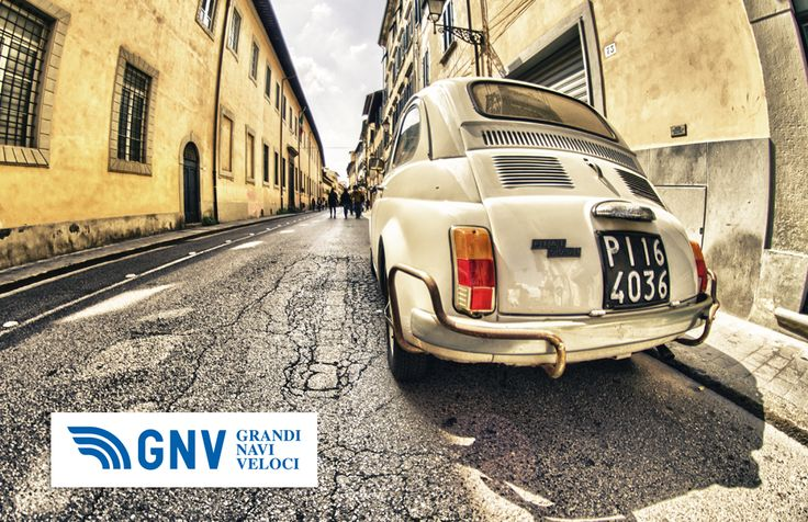 Old #cinquecento parked in a narrow city street. #Fiat_Cinquecento is a city car produced by the Italian manufacturer #Fiat. Discover #GNV routes in our website:www.gnv.it/en/