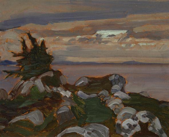 """Near Petite Riviere, Nova Scotia,"" James Edward Hervey MacDonald, 1922, oil on board, 8 7/16 x 10 7/16"", private collection."