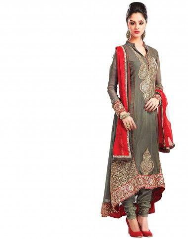 Grey coloured Semi Stitched #Salwar Kamaeez Crafted on #Georgette, Santoon and #Chiffon Fabric