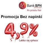 Promocja Bez napinki w Banku BPH dotyczy gotówkowego kredytu konsolidacyjnego udzielanego bez zabezpieczeń. W ramach Promocji każdy Klient konsolidujący Swoje zadłużenia otrzymuje gwarancję, że oprocentowanie 4,9% nie wzrośnie w czasie trwania umowy. Promocja Bez napinki w Banku BPH Atuty