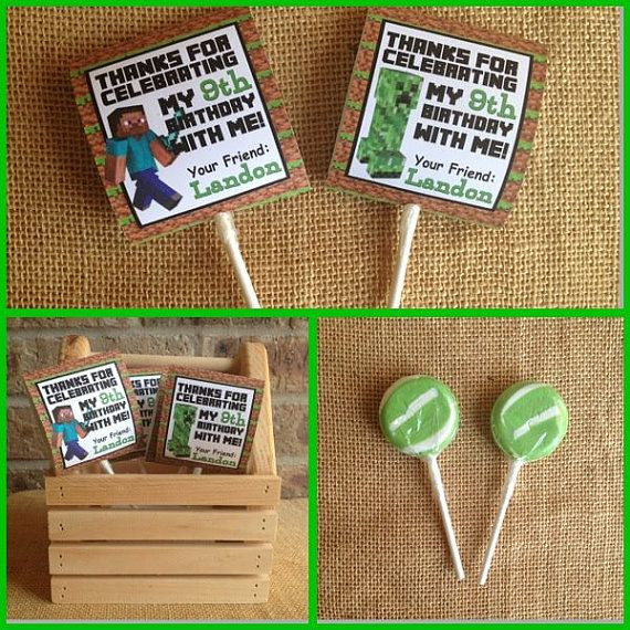 Personalized Minecraft Birthday Favor Lollipop Cover Party Goody Gift Bags Printable Download Decoration Digital Treat Bag