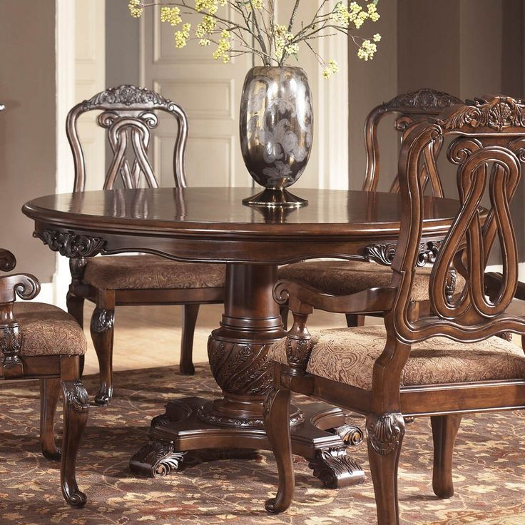Ashley Furniture North Shore Round Pedestal Table In Dark Brown