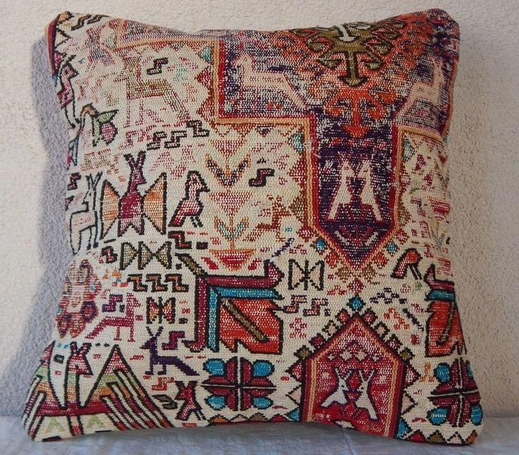 16''x16'' Bohemian Handmade Animal Kilim Rug Pillow Cover, Silk Sumak Cushion #Handmade