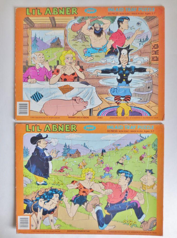 Li'l Abner Puzzles, Vintage Lil Abner Puzzles Set of Two 1990, Li'l Abner Comic Strip Al Capp Dogpatch USA Hillbillies Daisy Mae Mammy Pappy by OtterValleyVintage on Etsy