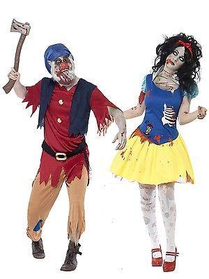 Couples Ladies Mens Zombie Snow White & Dwarf Halloween Fancy Dress Costumes