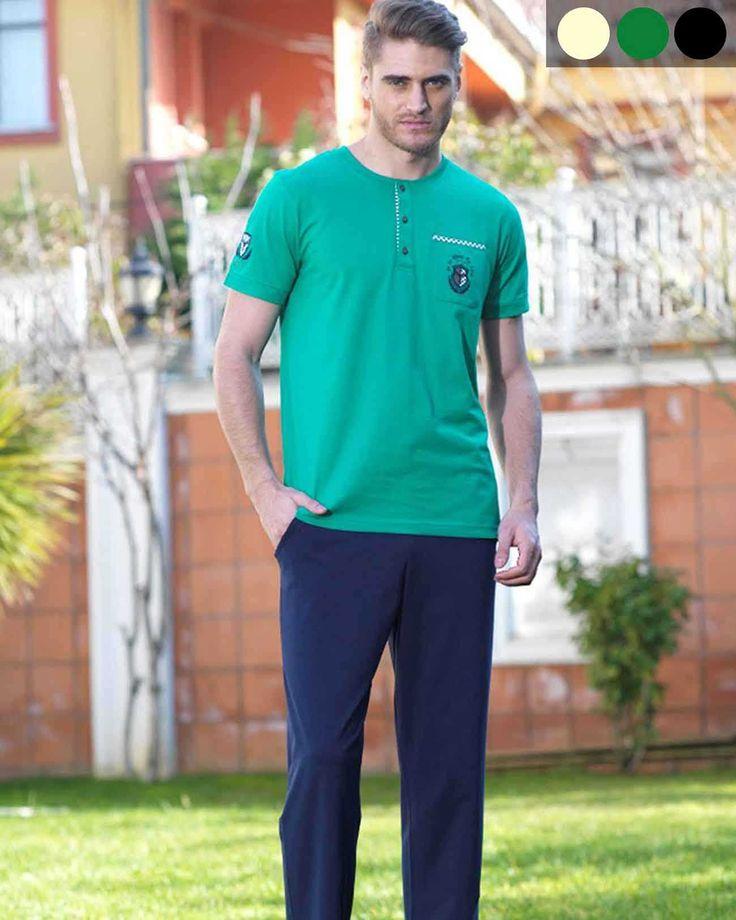 Şahinler - Şahinler Bisiklet Yakalı Sağ Kolu Nakışlı Uzun Pijama Takım