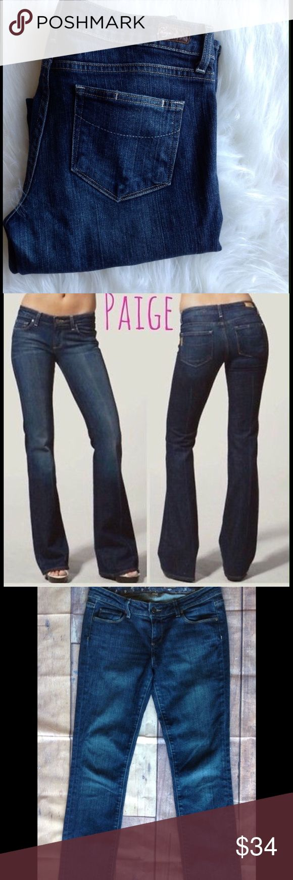 """PAIGE Premium Denim Jeans Blue Heights Size 29x34 AWSOME LOOKING PAIR OF PAIGE PREMIUM BLUE HEIGHTS JEANS.  Gorgeous Classy PAIGE PREMIUM Blue Heights Jeans Size 29, Inseam 34"""", Rise 8"""" Very Good Preloved Condition at a VERY LOW PRICE Very Classy, yet Sexy Retail For $199.99 From a """"Smoke Free"""" Environment  Will be shipped within 24 hours of payment.  These Jeans are very nice. There are no stains, holes or rips on these Jeans.  SKU 14 Paige Jeans Jeans Straight Leg"""