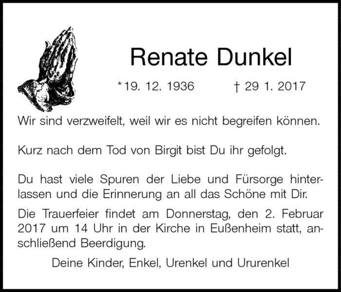 Renate Dunkel *19. 12. 1936 gest