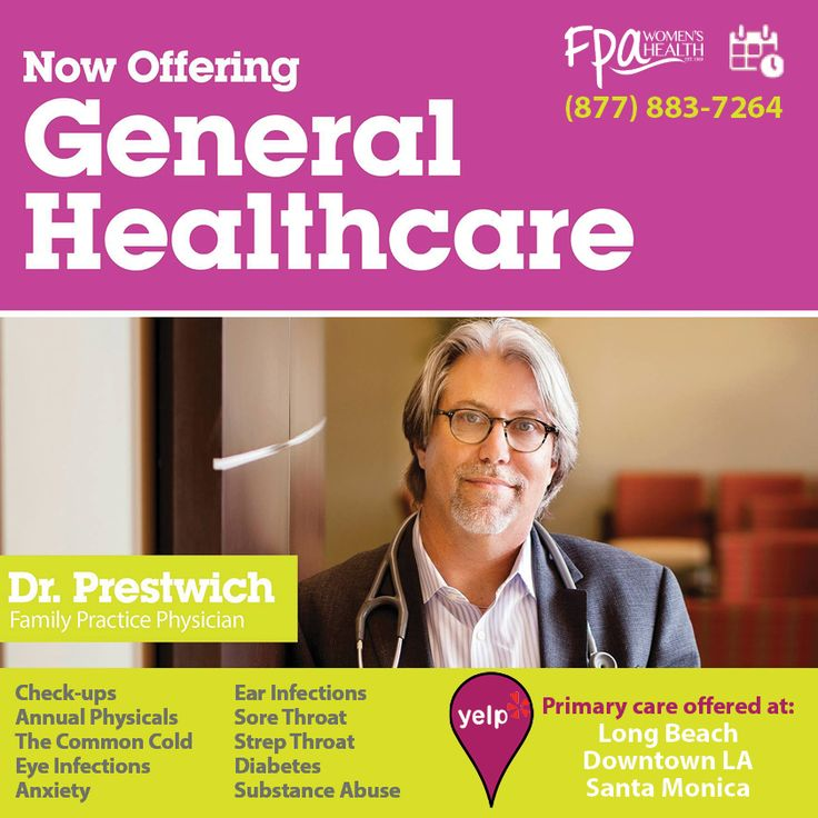 Primary care available in Long Beach, Downtown LA, and Santa Monica.  Appointments: