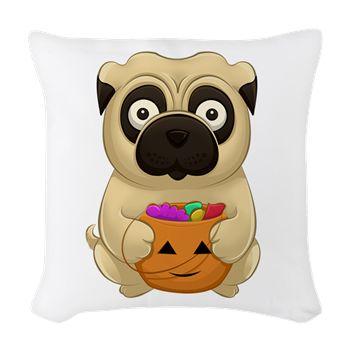 A Pug Halloween Woven Throw Pillow from cafepress store: AG Painted Brush T-Shirts. #Halloween #pug #pumpkin #pillow