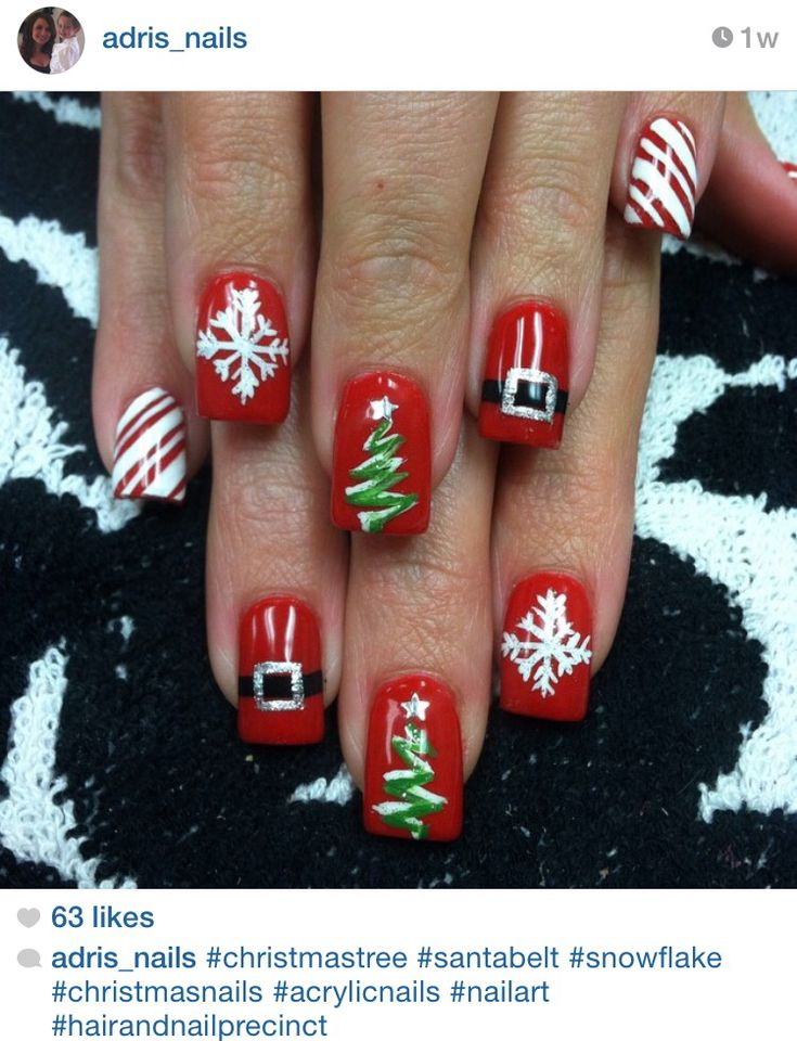 Christmas tree acrylic nails! #nailart by @adrisnails
