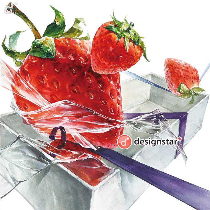 딸기(자연물) & 비닐(투명체) & 박스(종이)