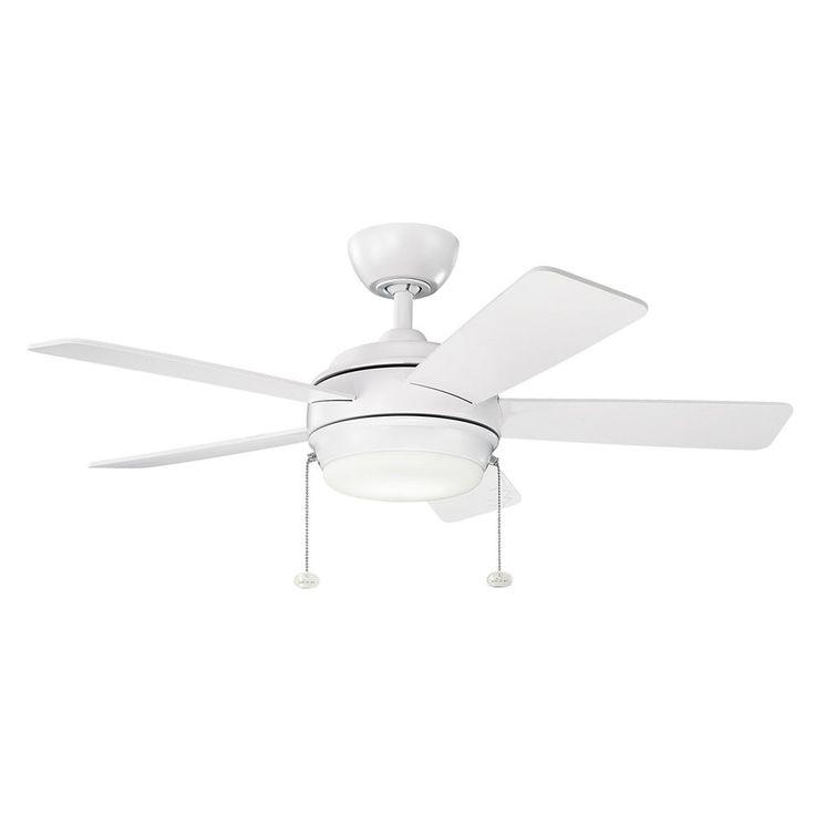 286 globe kichler lighting kichler lighting starkk matte white led ceiling fan with light 330171mwh - Kichler Fans