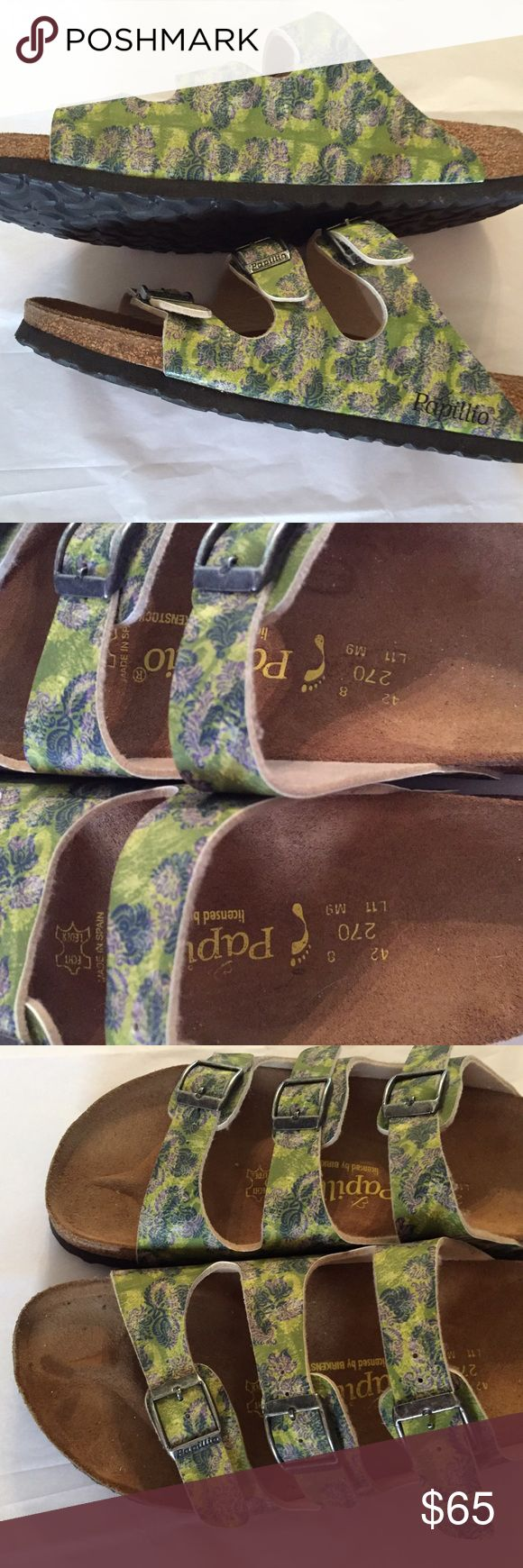 Papillio Florida Floral Birko size 11 Used Papillio Florida sandals in size 11. Style, comfort, and creative new materials and patterns make them seasonal favorites. Three straps from the bottom of your toes to your instep keep you secure, but give you the easy wear of a slip-on. Birkenstock Shoes
